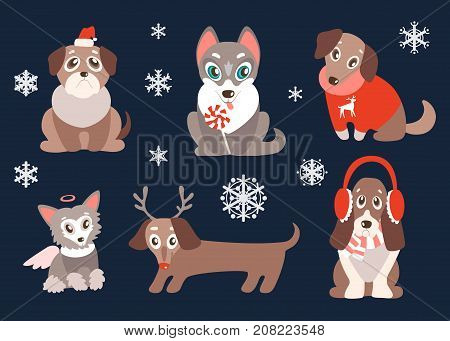 Vector set of puppies with christmas symbols. Cute dogs, best friends. Pug, husky, basset, retriever, dachshund and Chinese Crested. Different breeds. Holiday winter characters.