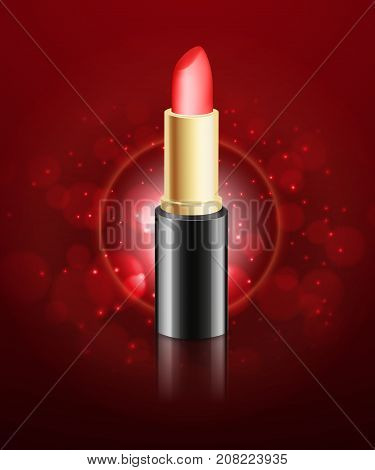 Red lipstick ads template. Red lipstick on a background with bokeh elements. 3d illustration. Design for ads or magazine. EPS10 vector