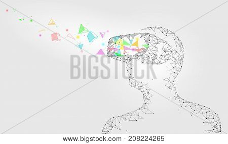 Low poly virtual reality helmet. Future innovation technology fantasy. Polygonal triangle connected dots geometric point line vr headset glass device concept white vector illustration art