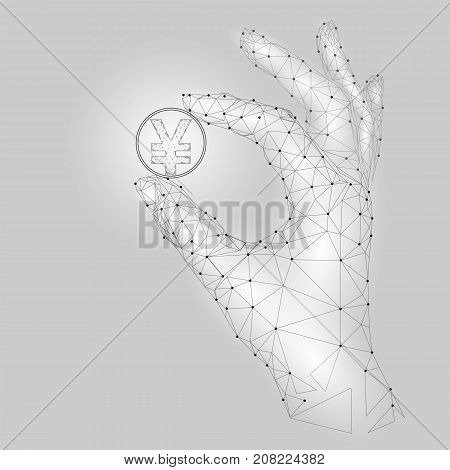 Low poly hand hold yen coin symbol carefully. Polygonal triangle connected dot point white gray currency value finance business offer gain profit concept vector illustration art