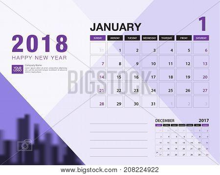 Desk calendar 2018 template. JANUARY 2018 month. Planner. Week starts on Sunday. Stationery design. advertisement. flyer. vector layout.
