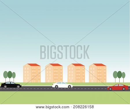 Typical italian and european  residential suburbs with the same buildings, cars, some trees and a street. Flat drawing. Vector one