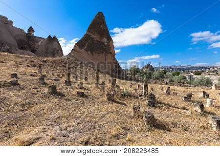Cemetery in Goreme national park. Cappadocia Turkey