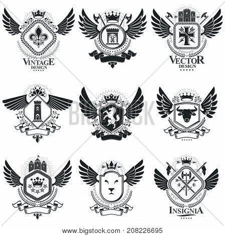 Vector emblems vintage heraldic designs. Coat of Arms collection vector set.