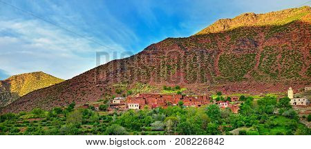 mudstone village of saturated clay in the mountains of the Atlas of Morocco
