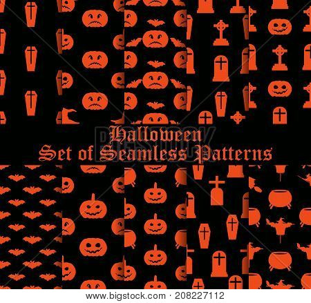Halloween Set Of Seamless Patterns With Pumpkins, Witches And Celebratory Symbols. Vector Illustrati