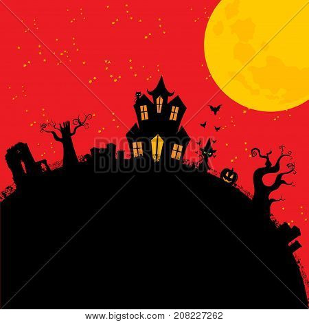 Halloween Red Background with Cartoons Style Creepy House and Cat