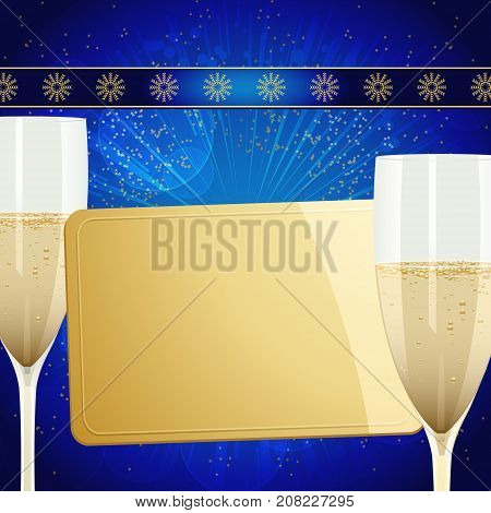 Christmas Festive Blue Background with Golden Gift Tag Champagne Glasses and Decorated Ribbon