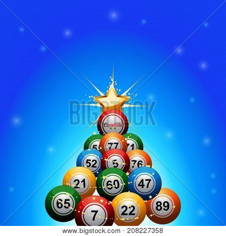 Christmas Tree made of Bingo Lottery Balls Decorated with Golden Star Over Blue Glowing Background