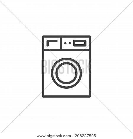 Washer machine household equipment line icon, outline vector sign, linear style pictogram isolated on white. Laundry symbol, logo illustration. Editable stroke