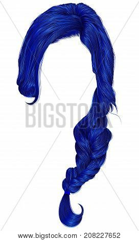 trendy women hairs dark blue colour . plait . fashion beauty style .