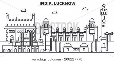 India, Lucknow architecture line skyline illustration. Linear vector cityscape with famous landmarks, city sights, design icons. Landscape wtih editable strokes