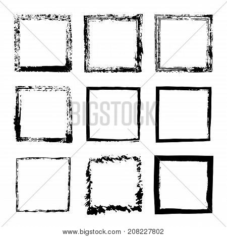 Vector set of square sloppy black ink frames drawn by hand. Thick and wide frame of lines splashes and spots of paint design text post cards banners