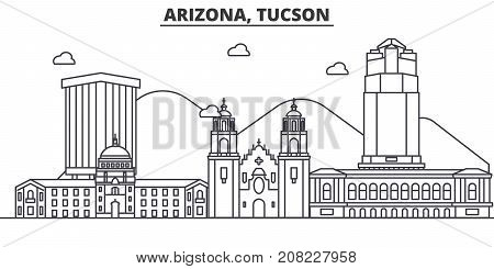 Arizona Tucson architecture line skyline illustration. Linear vector cityscape with famous landmarks, city sights, design icons. Editable strokes