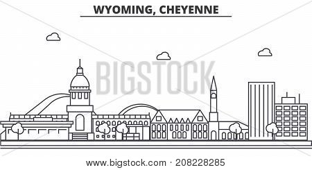 Wyoming, Cheyenne architecture line skyline illustration. Linear vector cityscape with famous landmarks, city sights, design icons. Editable strokes