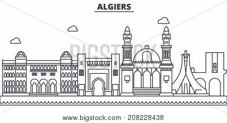 Algiers architecture line skyline illustration. Linear vector cityscape with famous landmarks, city sights, design icons. Editable strokes