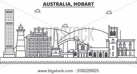 Australia, Hobart architecture line skyline illustration. Linear vector cityscape with famous landmarks, city sights, design icons. Editable strokes