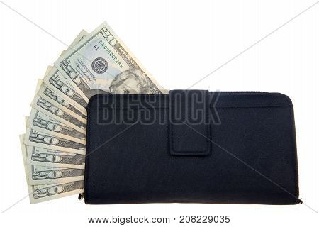 Stack of twenty dollar bills sticking out of the side of a black woman's wallet isolated on white background