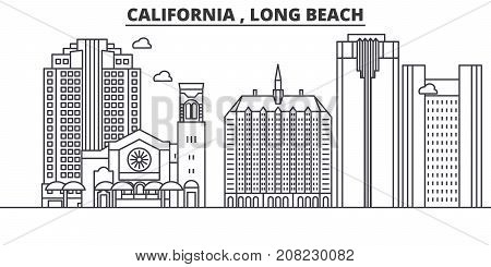 California  Long Beach architecture line skyline illustration. Linear vector cityscape with famous landmarks, city sights, design icons. Editable strokes