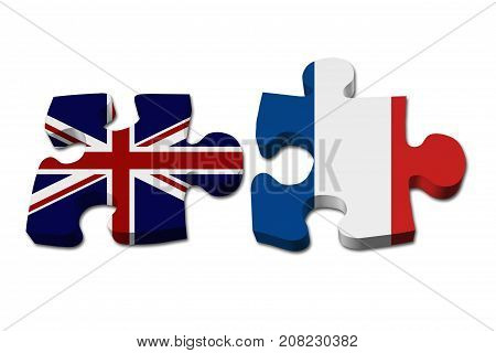 Relationship between the Britain and France Two puzzle pieces with the flags of Britain and France isolated over white 3D Illustration