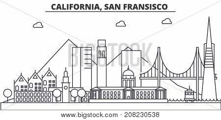 California, San Francisco architecture line skyline illustration. Linear vector cityscape with famous landmarks, city sights, design icons. Editable strokes