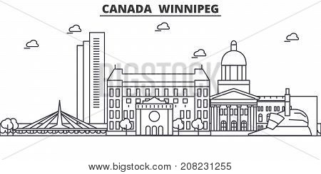 Canada, Winnipeg architecture line skyline illustration. Linear vector cityscape with famous landmarks, city sights, design icons. Editable strokes