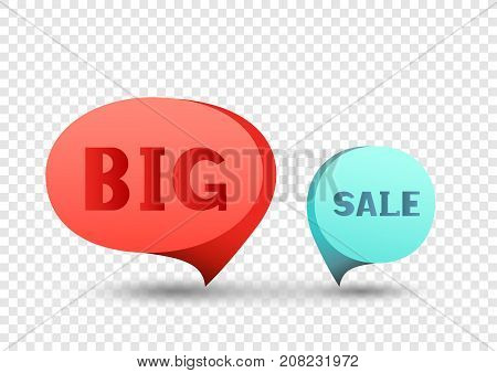 Red and blue big sale tag discount sticker. Round sale banner with item pointer. Business communication dialog or quote template sign. Empty promotion shape on transparent background