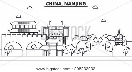 China, Nanjing architecture line skyline illustration. Linear vector cityscape with famous landmarks, city sights, design icons. Editable strokes
