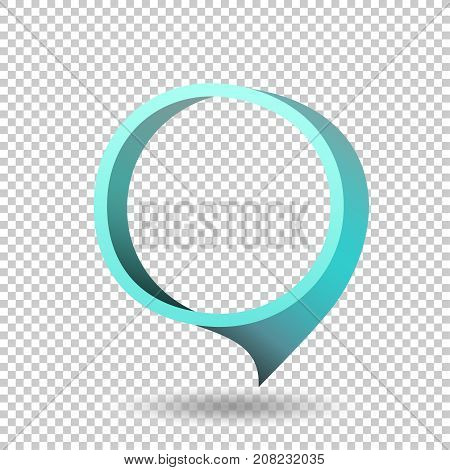 Blue frame tag discount sticker. Round sale banner with item pointer. Business communication dialog or quote template sign. Empty promotion shape on transparent background