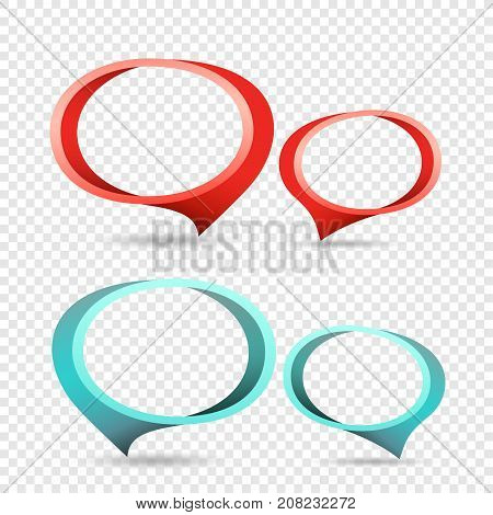 Red and blue frame tag discount sticker. Round sale banner with item pointer. Business communication dialog or quote template sign. Empty promotion shape on transparent background