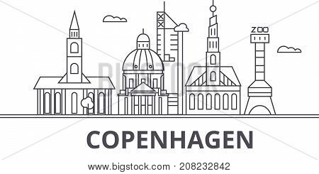 Copenhagen architecture line skyline illustration. Linear vector cityscape with famous landmarks, city sights, design icons. Editable strokes poster