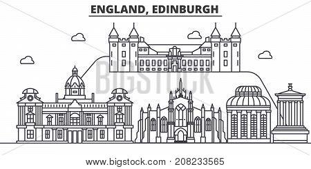 England, Edinburgh architecture line skyline illustration. Linear vector cityscape with famous landmarks, city sights, design icons. Editable strokes