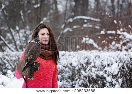A girl with a falcon strolls in the winter in the forest