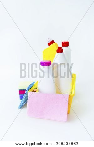 An image of different things for cleaning house
