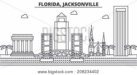 Florida, Jacksonville architecture line skyline illustration. Linear vector cityscape with famous landmarks, city sights, design icons. Editable strokes