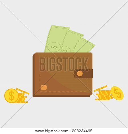 Wallet vector icon, purse symbol of money. Paper bank none and gold coins. Flat style vector