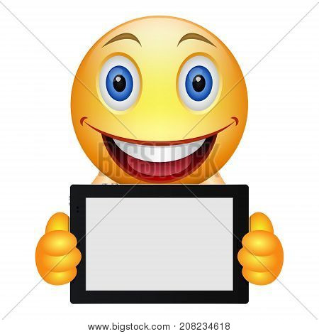 Cartoon emoticon keeps a tablet. Yellow smiley keeps a tablet as banner or placard for inscription. Place for lettering or advertising. Your text here. Vector isolated object.