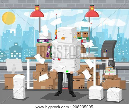Stressed businessman holds pile of office papers and documents. Office building interior. Office documents heap. Routine, bureaucracy, big data, paperwork, office. Vector illustration in flat style