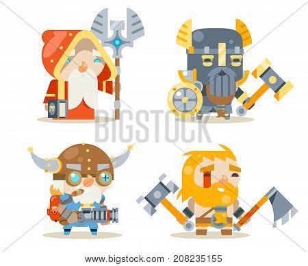 Dwarfs Warrior Defender Rune Mage Priest Berserker Engineer Inventor Worker Fantasy Game RPG Character Vector Icons Set Vector Illustration