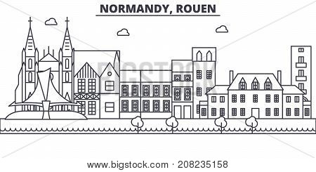 France, Rouen architecture line skyline illustration. Linear vector cityscape with famous landmarks, city sights, design icons. Editable strokes