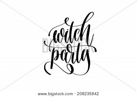 witch party hand lettering inscription quote to witches event on halloween holiday, black and white calligraphy vector illustration