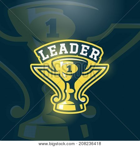 Leader Prize Cup Emblem. Vector Sport Trophy Sign, Symbol or Logo Template. Dark Background.