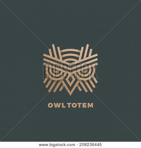 Owl Totem Abstract Vector Sign, Emblem or Logo Template. Golden Line Style Geometry Emblem. Dark Green Background.
