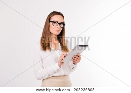 Leadership, Authority, Femenine Dream. Attractive Adult Boss Economist, Accountatnt In Formal Outfit