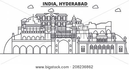 Hyderabad, India architecture line skyline illustration. Linear vector cityscape with famous landmarks, city sights, design icons. Editable strokes