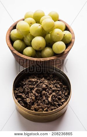 Stock photo of dried bitter and salty or chatpata Amla/Avla/Aavla called supari or mouth freshener