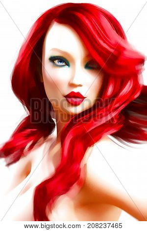 Portrait beautiful young girl with blue eyes and red lips. Woman soft skin. Red hair. Bright makeup. Realistic 3D render illustration. Isolate. High key photo. Pastel drawing. Watercolor.