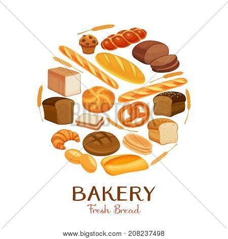 Set vector bread icons. Rye bread and pretzel, muffin, pita bread, ciabatta and wheat bread, croissant, whole grain bread, bagel, toast bread, french baguette for design menu bakery.
