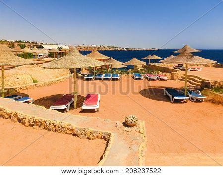 Sharm El Sheikh, Egypt - September 22, 2017: The view of luxury hotel Dreams Beach Resort Sharm 5 stars at Sharm El Sheikh, Egypt on September 22, 2017