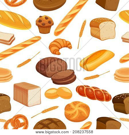 Vector seamless pattern bread product. Rye bread and pretzel, muffin, pita, ciabatta and croissant, wheat and whole grain bread, bagel, toast bread, french baguette for design menu bakery.